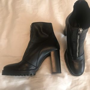 Leather Lug Soled Ankle Boots